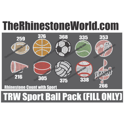 Sports Ball 10 Pack 2 Color Rhinestone Design - Download