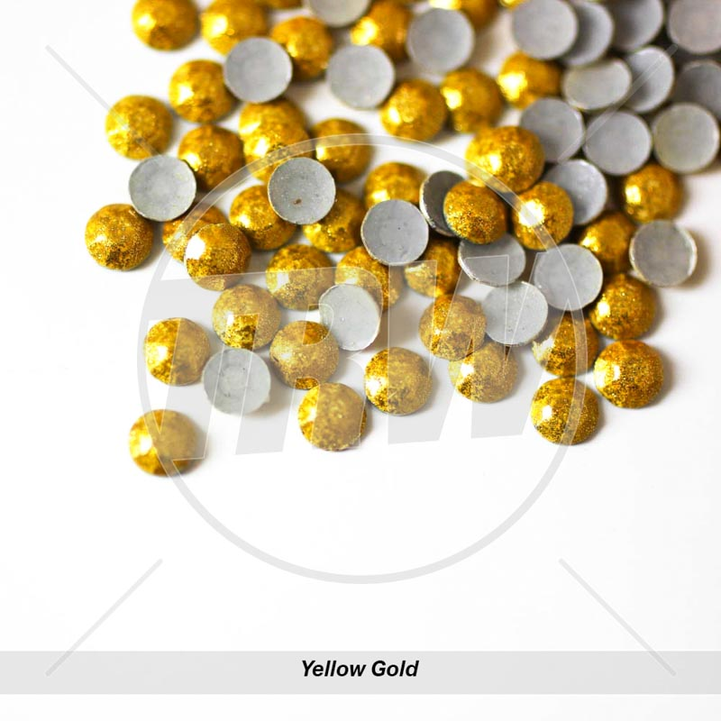 Sparkling Hot-Fix Yellow Gold SS6 Rhinestuds 50-Gross