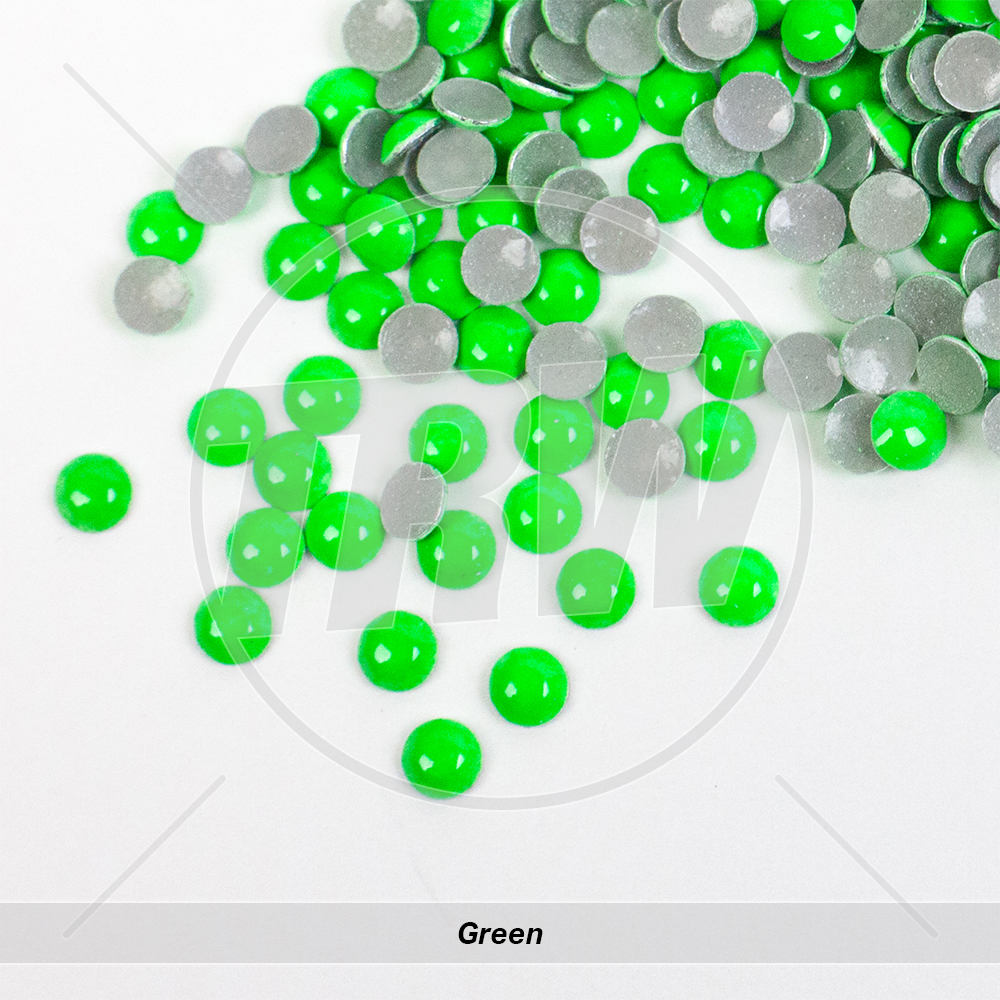 Neon Hot-Fix Green SS10 Rhinestuds 50-Gross