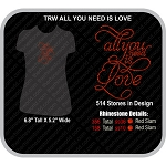 ALL YOU NEED IS LOVE Rhinestone Design - Download
