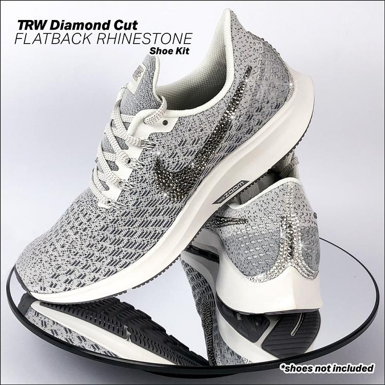 Diamond Cut Flatback Rhinestone Shoe Kit-Fl