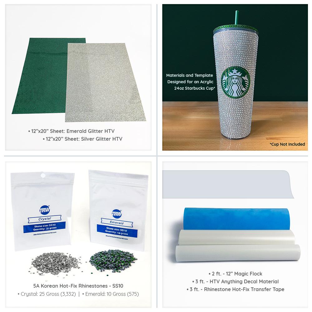 Acrylic Rhinestone Cup Wrap Kit 24oz Acrylic Starbucks Cup