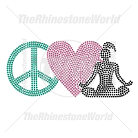Peace Love Yoga 47 Rhinestone Design - Pre-Cut Template