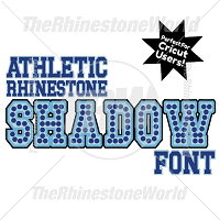 TRW Rhinestone Athletic Shadow Font