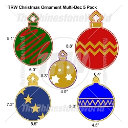 TRW Christmas Ornament Multi-Dec Design 5 Pack