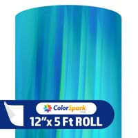 ColorSpark Holographic Adhesive Vinyl - Mint Rainbow (5 Foot Roll)