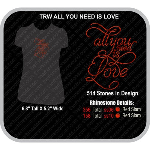ALL YOU NEED IS LOVE Rhinestone Design - Pre-Cut Template