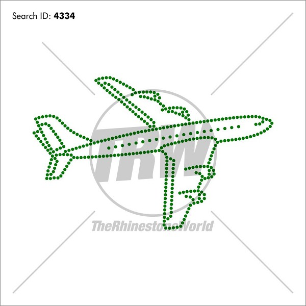 Airplane Rhinestone Design - Pre-Cut Template