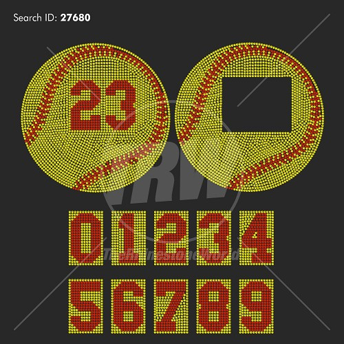 Baseball Softball And Numbers Rhinestone Design - Download