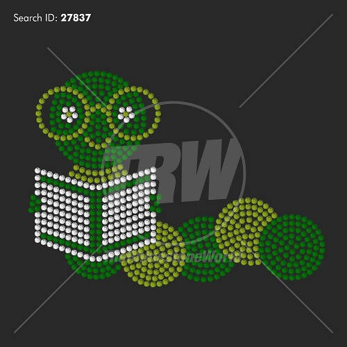 Book Worm 55 Rhinestone Design - Download