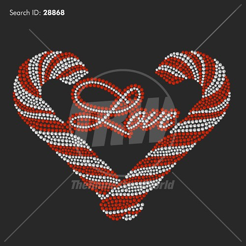 Candy Cane Heart Rhinestone Design - Download