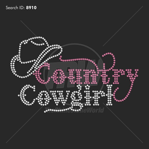 Country Cowgirl 2 Rhinestone Design - Pre-Cut Template