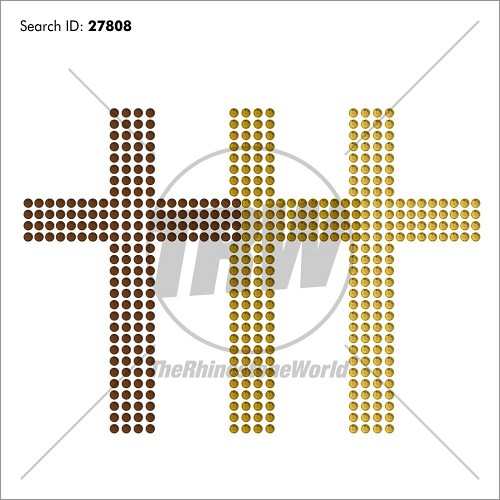 Cross Triple Rhinestone Design - Pre-Cut Template