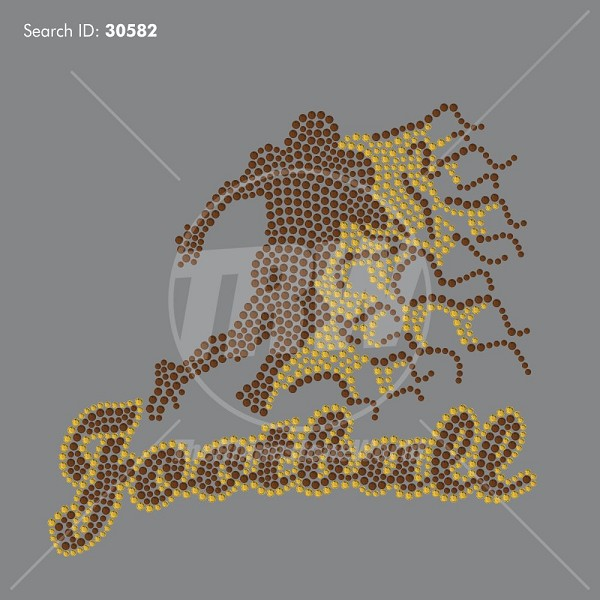 Flaming Football Silhouette Rhinestone Design - Download