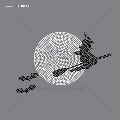 Flying Witch Rhinestone Design - Pre-Cut Template