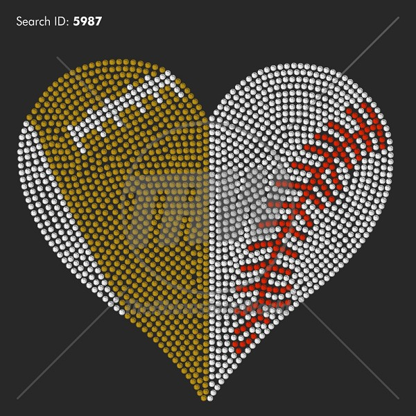 Football/Baseball Heart Rhinestone Design - Pre-Cut Template