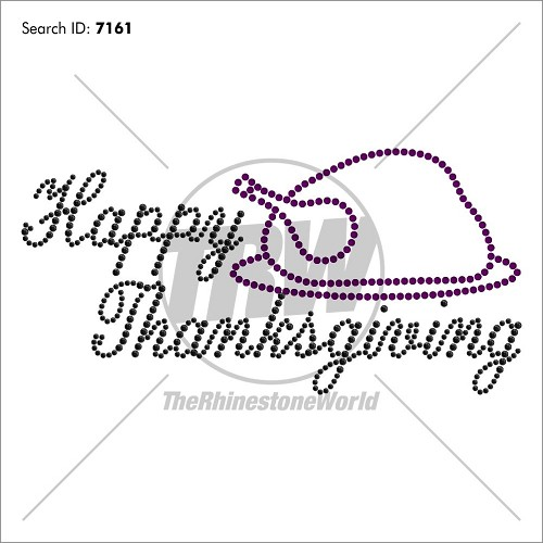 Happy Thanksgiving Rhinestone Design - Pre-Cut Template