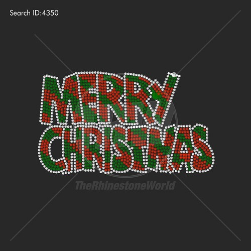 Merry Christmas Bubble Rhinestone Design - Download