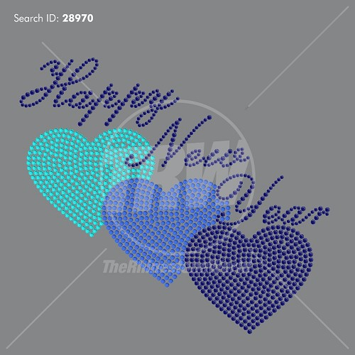 New Years Hearts Rhinestone Design - Pre-Cut Template