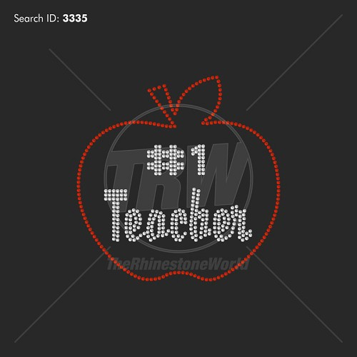 Number One Teacher Rhinestone Design - Download