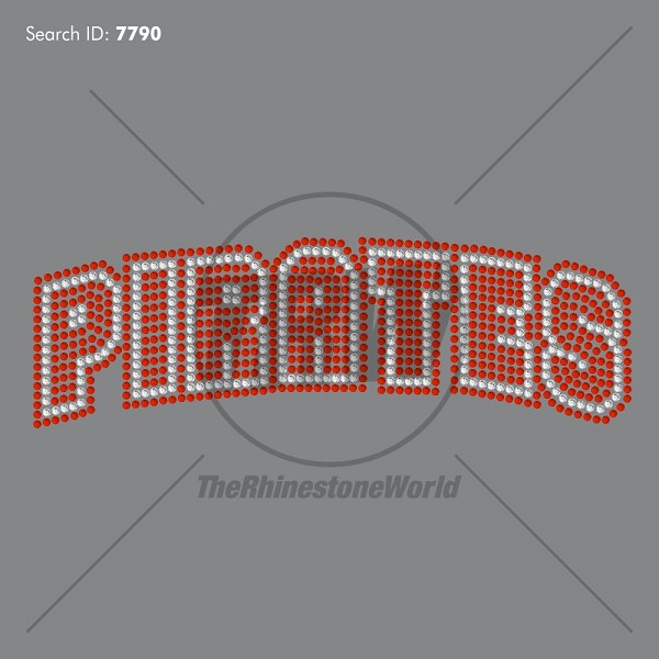 pirates name rhinestone design pre cut template