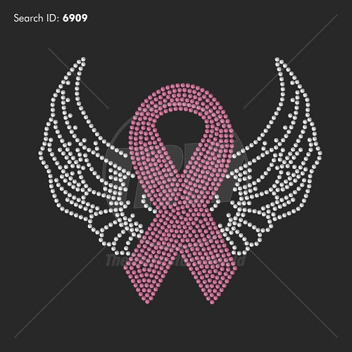 Ribbon With Wings 7 Rhinestone Design - Download