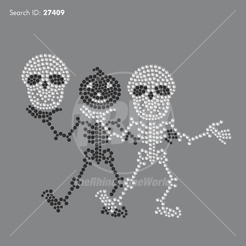 Skeleton Double Rhinestone Design - Pre-Cut Template