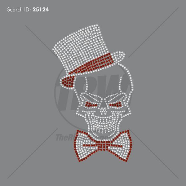 skull top hat rhinestone design pre cut template