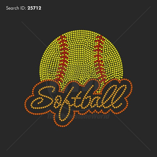 Softball Bubble Rhinestone Design - Pre-Cut Template