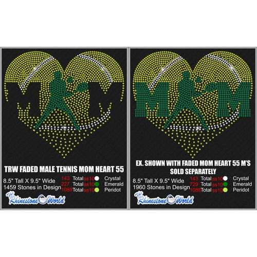 Faded Male Tennis Mom Heart 55 Design  - Download