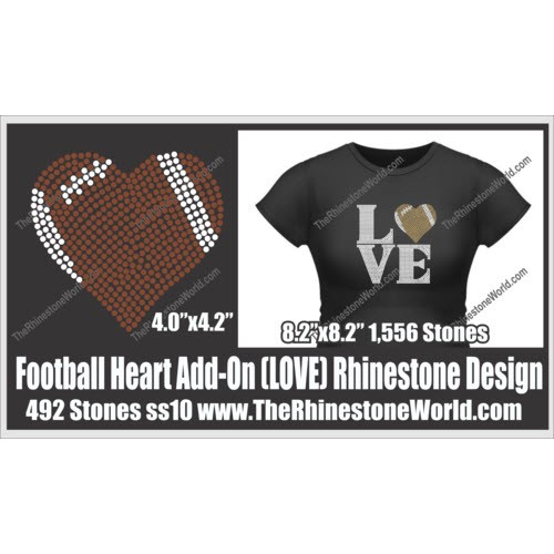 LOVE Football Heart Add-On Design  - Download