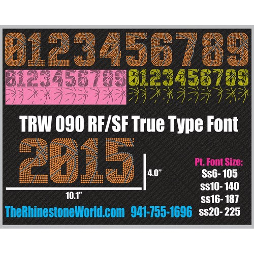 TRW 090 - 2 Color Basketball Numbers Rhinestone TTF - Pre-Cut Template