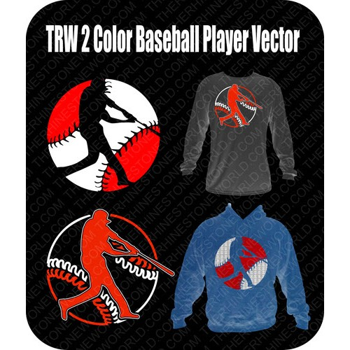 TRW 2 Color Baseball Player Vector  - Download