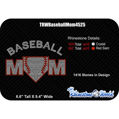 TRW Baseball Mom 4525 Rhinestone Design  - Download