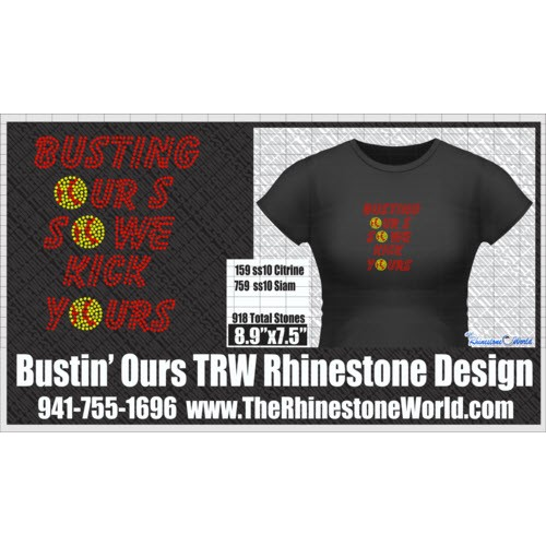 TRW Bustin Our's Baseball/Softball Rhinestone Design w/ mock - Download