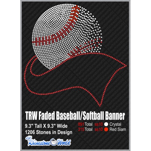 TRW FADED BASEBALL/SOFTBALL BANNER SF Design Pre-Cut Templat - Download