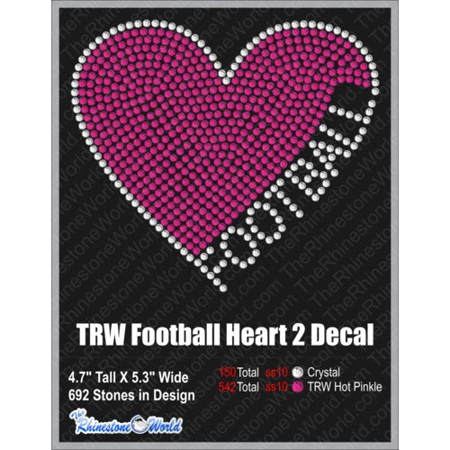 TRW Football Heart 2 Decal Design W/ MOCKUP  - Download