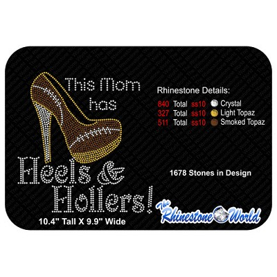 TRW Mom has Football Heels Rhinestone Design  - Download