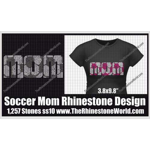 TRW Soccer Sports Mom Rhinestone Design  - Download