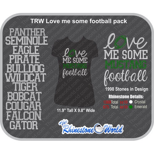 TRW Love Me Some Football Rhinestone Design  Pack  - Download
