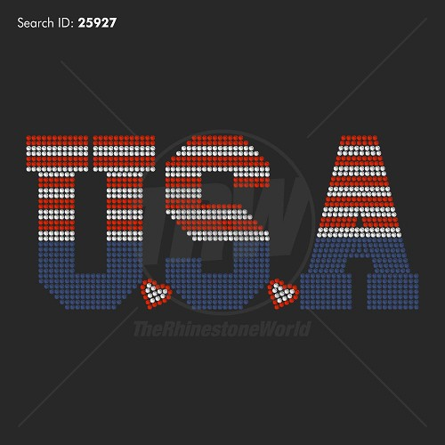 USA Stripes Rhinestone Design - Pre-Cut Template