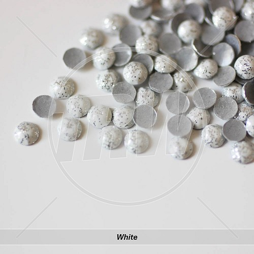 Glitter Hot-Fix White SS6 Rhinestuds 10-Gross