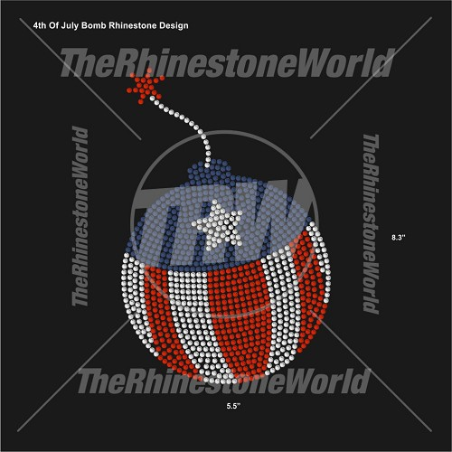 4th Of July Bomb Rhinestone Design - Pre-Cut Template