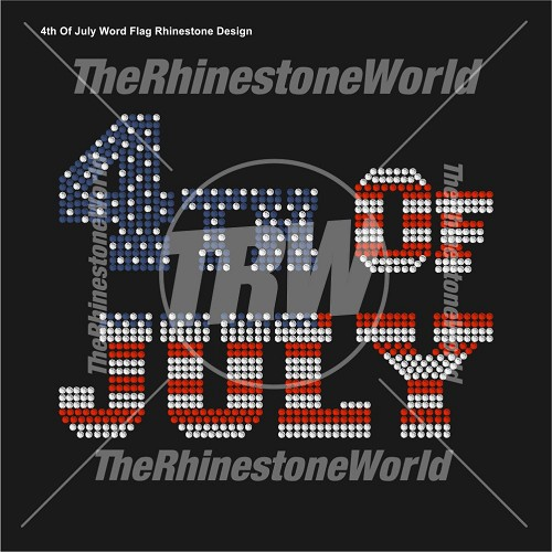 4th Of July Word Flag Rhinestone Design - Pre-Cut Template
