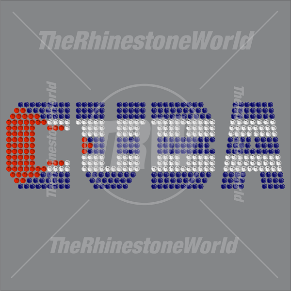 TRW Cuban Flag Text Rhinestone Design