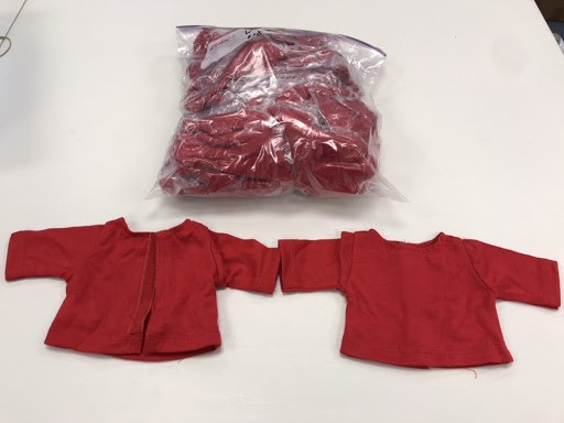 "Red Long Sleeve Lot 25 Blank 18"" Velcro Doll Tees"