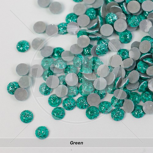 Glitter Hot-Fix Green SS10 Rhinestuds 25-Gross