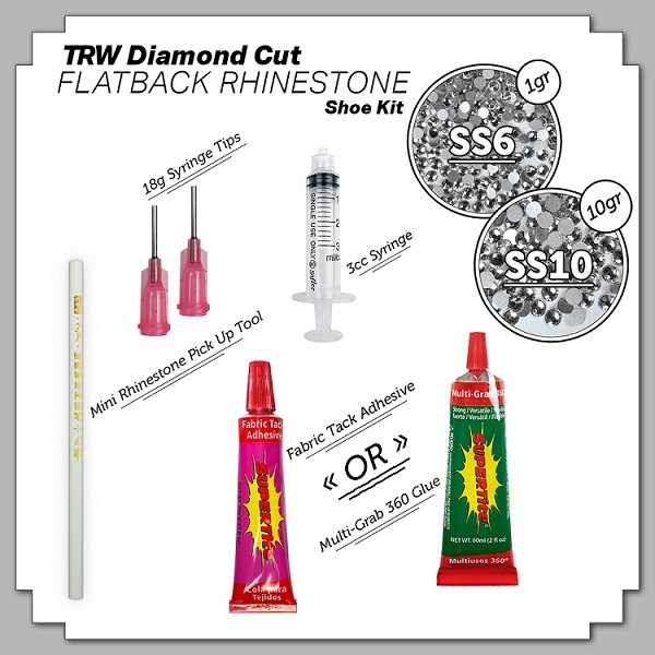 Diamond Cut Flatback Rhinestone Shoe Kit