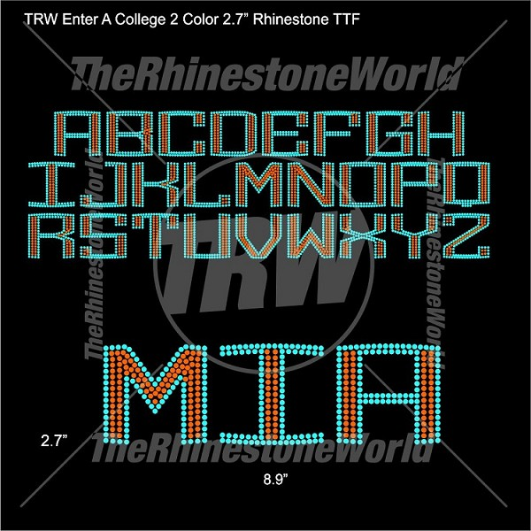 "TRW Enter A College 2 Color 2.7"" Rhinestone TTF - Download"